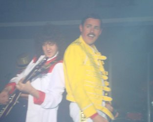 Dean Richardson as Freddie Mercury with Andy Wills as Brian May