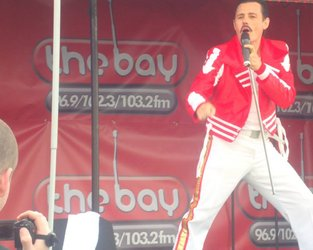 Dean Richardson as Freddie Mercury at the Lune Valley Fayre on the Bay Radio stage
